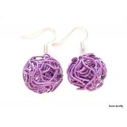 Náušnice  fialové drátkované kuličky