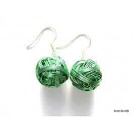 Náušnice khaki zelené drátkované kuličky