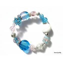 Modrorůžový náramek z vinutých perel a šitých kuliček