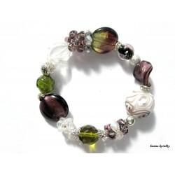 Fialovozelený náramek z vinutých perel a šitých kuliček