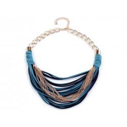 Tyrkysový náhrdelník z řemínků