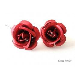 Náušnice - červené růžičky