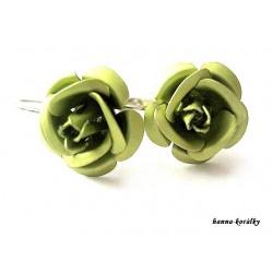 Náušnice - zelené růžičky