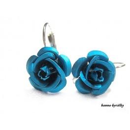 Náušnice - modré růžičky