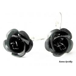 Náušnice - černé růžičky